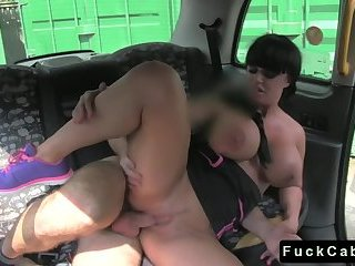 Thumb Huge tits tattooed babe drilling in fake taxi