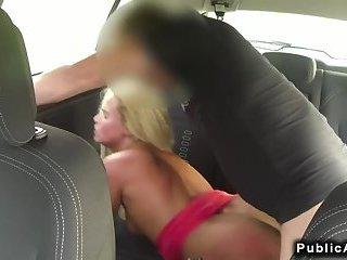 Party blonde drilling in car in public