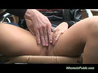 cute Nymph rides boner on park bench