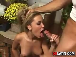 Brunette rubbing pussy cock