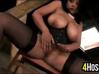 Thick Bitch Playing With Her Slave