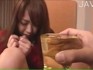 Busty Japanese Peeing In A Glass