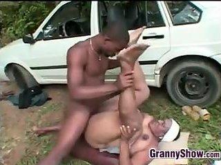 Black Granny Fucks Outside