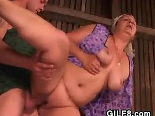 Fat Granny Banged In The Ass