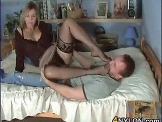 He Loves Her Nylon Covered Feet