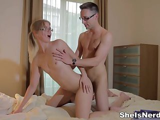 Studying and fucking with nerdy girl