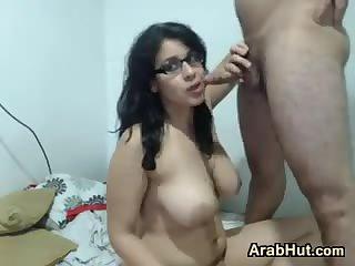Busty Arab Nerd Sucking And Fucking