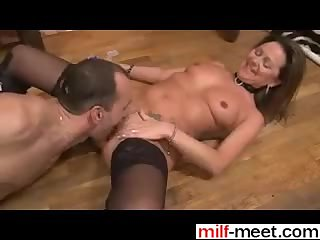Hot french MILF in boots fucked