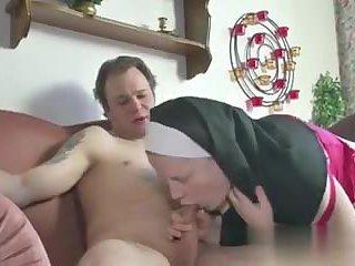 German Teen Boy seduce Granny Nun