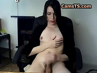 Skinny shemale with great nipples and a nice cock.