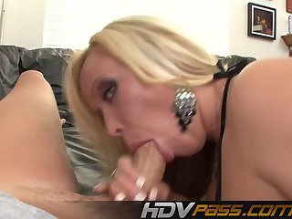 Blonde MILF Sucks Cock And Gets Nailed