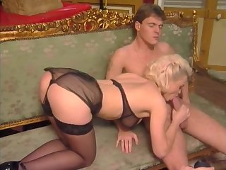 Blonde milf in sexy lingerie