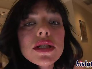 Sexy brunette has her tight pussy destroyed