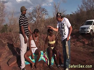 African sex safari foursome orgy