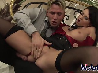 Gorgeous playgirl receives a rough pounding