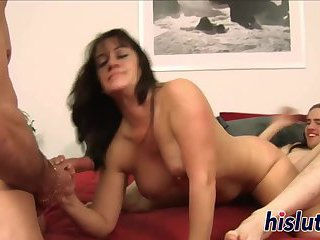 Steaming hot threesome with a sexy MILF
