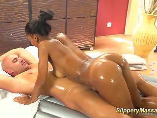Black teens slippery footjob massage