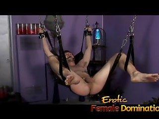 Mistress Nicolette has no mercy for her helpless skinny slave