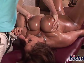 Kinky slut with big naturals gets drilled