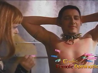 Two mistresses team up and dominate Felix in the dungeon
