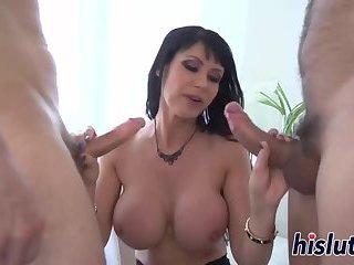 Big boobs bounce on a throbbing member