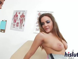Busty nurse penetrates her own cunt