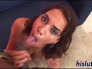 Sexy babe has her hairy muff destroyed