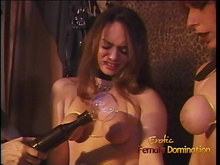 Two horny sluts let a sexy domina do naughty things