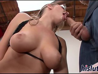 Big tits get sprayed with sticky spunk
