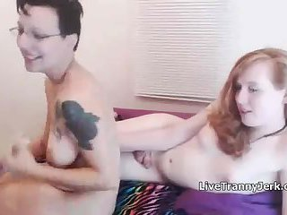 Hot Redhead Tranny plays with Girlfriend