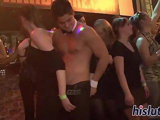 Foxy bimbos suck dicks at a party