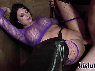 Brunette slut with massive boobs gets drilled