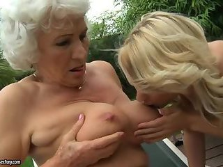 granny norma fucks a yong girl at the pool