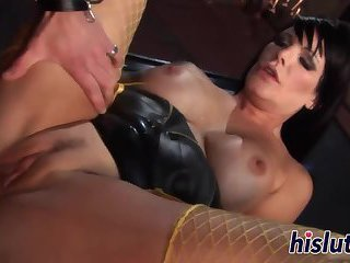 Busty raven-haired slut has her muff drilled