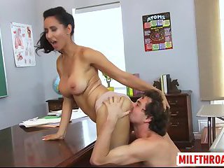 Brunette mature titty fuck with cum in mouth