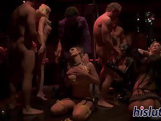 Intense orgy session starring luscious sex bombs