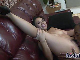 Two hard dicks for an Asian floozy