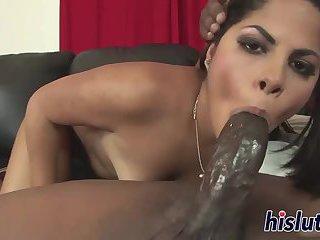 Lovely Latina maiden blows on a BBC