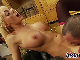 Blonde stunner in stockings gets fucked hard