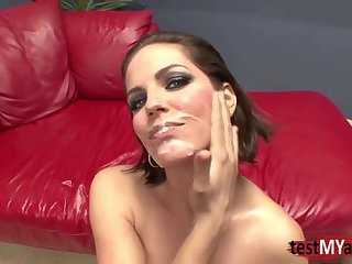 Brunette pornstar dp with facial