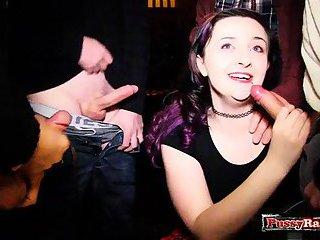 Brunette pornstar bukkake with cum in mouth