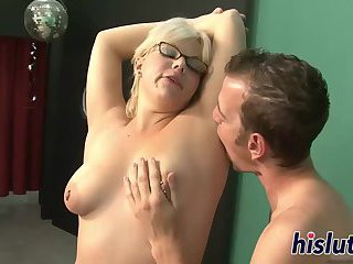 Blonde slut rides on a big cock