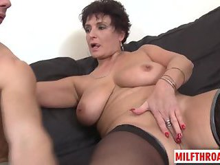 Big tits milf oral with cum on tits