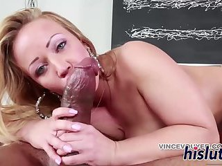 Hot interracial session with a blonde bimbo