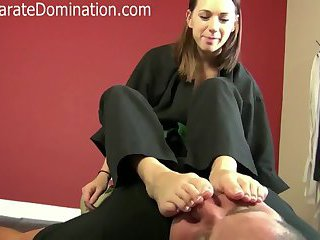 Karate Girl dominates guy with her feet