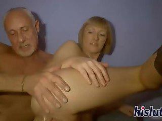 Mature blonde gets her twat pummeled hard