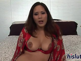 Curvy Asian starlet rides a stiff boner