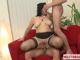 Brunette milf threesome with cum on tits