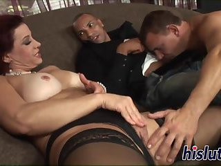 Raunchy Samantha pleasures two stiff poles