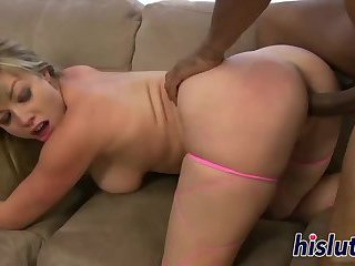 Interracial anal banging with a curvy blonde